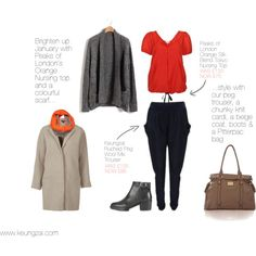"""Brighten up your January""   Peaks of London's Orange Nursing Top and a colourful scarf....style with our perfect Peg Trouser, ankle boots, a chunky knit cardi, a nude coat and a Pittpac changing bag. Sorted!"