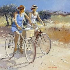 """""""Les Deux Amies a Bicyclette by Andre Deymonaz"""