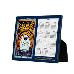 Meditation White Cat Painting Calendar 2018 Plaque - home gifts ideas decor special unique custom individual customized individualized