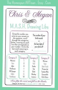 MASH DRAWING (Mad) Libs Wedding Game...super cute!!