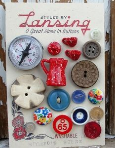 Vintage buttons on Lansing card