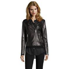 Marc New York Black leather 'Selena' asymmetrical zip jacket ($260) ❤ liked on Polyvore featuring outerwear, jackets, black, long sleeve jacket, leather jacket, collar jacket, real leather jacket and collar leather jacket