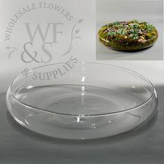 """Glass Bowl Vase 15"""" Wide"""