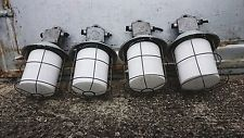VINTAGE INDUSTRIAL ANTIQUE LOFT  OPAL  FACTORY PENDANT LIGHT FIXTURES LAMPS
