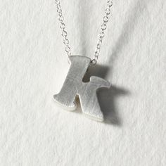 sterling silver block letter initial necklace - k Heart Jewelry, Unique Jewelry, Wedding Keepsakes, Block Lettering, Letters And Numbers, Diamond Are A Girls Best Friend, Initial Necklace, Initials, Monogram