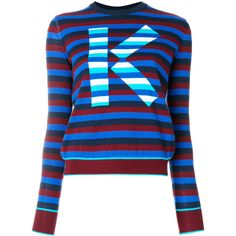 Kenzo logo striped sweater ($390) ❤ liked on Polyvore featuring tops, sweaters, blue, long sleeve sweater, long sleeve cotton tops, long sleeve crew neck sweater, cotton crewneck sweater and stripe sweaters
