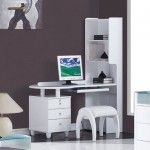 Global Furniture - Emily Study Desk with Stool in White - EMILY/EVELYN-WH-SD  SPECIAL PRICE: $684.45
