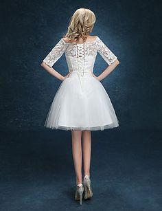 Ball Gown Wedding Dress - White Short/Mini Bateau Lace – GBP £ 51.09