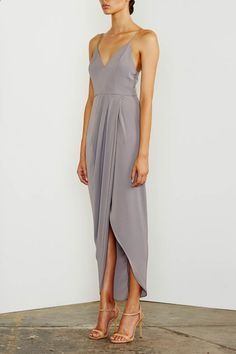 Shona Joy Cocktail Draped Maxi Dress Grey - Fox Maiden