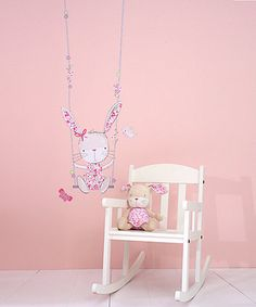 Add the finishing touches to your baby's nursery or playroom with these gorgeous wall stickers from the My Little Garden collection, which include a cute bunny on a swing, plus some sweet little birds and butterflies.  These vinyl stickers are easy to apply and give a painted mural look - if you do need to remove the stickers they will remove cleanly from painted walls.