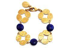 Gold Clovers & Lapis Coin Bracelet
