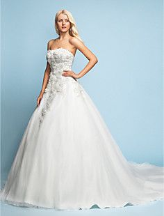 A-line/Princess Strapless Court Train Lace Wedding Dress – EUR € 204.59