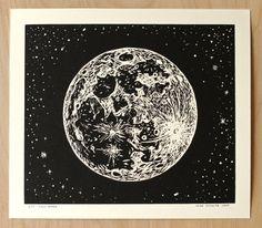 Full Moon - Handmade Linocut Print by Mike Schultz on Etsy Linocut Prints, Art Prints, Block Prints, Portland, Lino Art, Joseph, Oregon, Traditional Tattoo, Full Moon