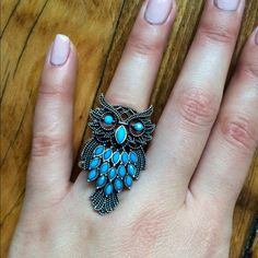 Silver and blue owl ring Silver and blue, band stretches to fit different sizes Jewelry Rings