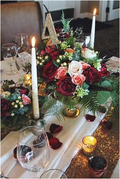 little miss lovely floral design // deep red, ivory, pale pink and gold sequin wedding centerpiece @misslovely @lighthousesound