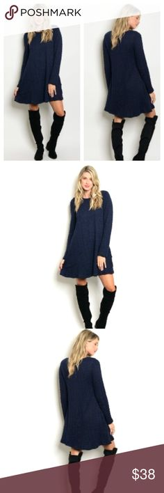 💋NAVY CHUNKY KNIT SWEATER SHIFT DRESS- NEW-S-M-L 💋JUST ARRIVED💋NEW💋NAVY LONG SLEEVE CHUNKY KNIT SWEATER DRESS. SHIFT STYLE WITH ZIPPER IN THE BACK. FULLY LINED AND IT'S COMFY. CREW NECK. AVAILABLE IN S-M-L. US SIZING. BOUTIQUE DRESS. ADD PEEP TOE BOOTIES AND BON BON EARRINGS TO COMPLETE YOUR LOOK💋BUNDLE AND SAVE. REASONABLE OFFERS WILL ALWAYS BE CONSIDERED💋 Charlie💋s Dresses