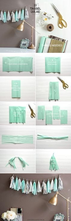 Add some sparkle to your next party with this super easy mint, gold, and silver tassel garland. Choose your own colors to create unique party or home decor!:                                                                                                                                                                                 Más