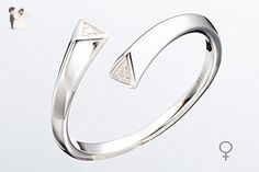Double wrap Couples promise ring - Alternative engagement ring in 14k & Diamond - Minimalist jewelry wedding band GALLA by Majade (Lady Ring) - Wedding and engagement rings (*Amazon Partner-Link)