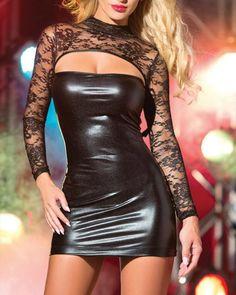 Mini Dress Clubwear, Leather Mini Dress, Pu Leather, Maxi Outfits, Casual Outfits, Curvy Outfits, Mini Club Dresses, Lace Dress With Sleeves, Latex Dress