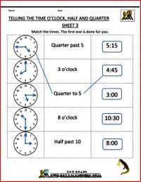 second grade math worksheets telling the time oclock half quarter 3