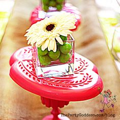 New season, new look! The Party Goddess!, LA's best full service event planner, shares spring decor ideas to make your next party ridiculously fabulous! Simple Centerpieces, Party Food And Drinks, Gerbera, Spring Day, Gumball, Party Photos, Event Decor, Holiday Parties, Event Design