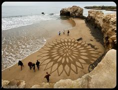 Stroll the beach where San Francisco-area landscape artist Andreas Amador etches massive sand drawings onto beaches during full moons when his canvas reaches its largest potential.