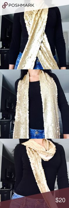"Doncaster Gold Sequin Scarf NWT! Very cute Scarf  Measurements: Length 72"" Width 5"" doncaster Accessories Scarves & Wraps"