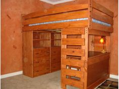 Sturdy solid wood full loft bed with large dresser, shelving and study desk. Custom built by hand. You choose the best finish and options for your room.