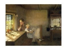 size: Giclee Print: A Woman and Child in a Sunlit Interior, 1889 by Albert Edelfelt : Fine Art Vincent Van Gogh, Die A, Christian Homemaking, Christian Parenting, Framed Artwork, Wall Art, Framed Prints, The Piano, Marriage Problems