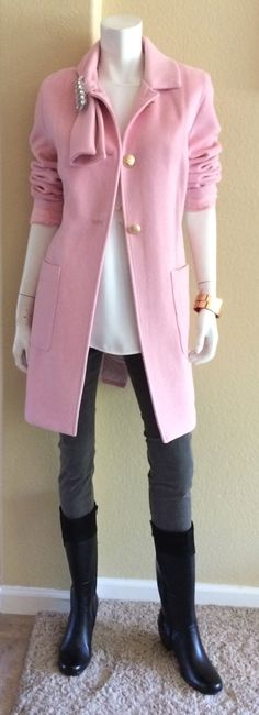 Daily Look:  CAbi Fall '14 Jubilee Top, Stormy Wash Super Skinny Jean, Tuscadero Coat, Heritage Stole Pin and two Hardware Bangles.  My daughter, Chase, put this one together for you!