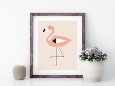Wall Art Flamingo Print Flamingo Wall Art Pink Print Minimalist Scandinavian, Scandinavian Style, Flamingo Print, Close Up Photos, Large Prints, Nursery Wall Art, Pretty In Pink, Wall Art Prints, Tropical