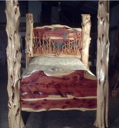 Impressive Tips to make your rustic log cabins in the woods or next to a creek. A necessity to take refuge from our fast pace life. Log Bedroom Furniture, Cedar Furniture, Rustic Log Furniture, Resin Furniture, Wooden Pallet Furniture, Log Projects, Diy Wooden Projects, Cedar Table, Branch Decor
