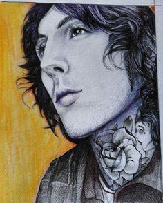 #myart #art #fanart #portrait #singer #artist #drawing #oliver #sykes #BMTH #curlhair #rose #tatoo #illustration