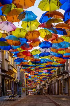 """From July to September hundreds of colorful umbrellas """"float"""" above the shopping promenades of Agueda, Portugal as part of the local Art Festival. Oh The Places You'll Go, Places To Travel, Places To Visit, Beautiful World, Beautiful Places, Umbrella Art, Umbrella Street, Art Festival, Street Art"""