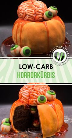 The low-carb horror pumpkin is low-carb, gluten-free and also super scary for Halloween. Halloween Desserts, Marzipan, Spider Cupcakes, Pregnant Halloween Costumes, Lchf, Keto, Pumpkin Carving, Horror, Food And Drink