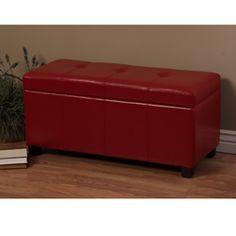 Cortesi Home Alba Storage Ottoman in Red Vinyl by Cortesi Home