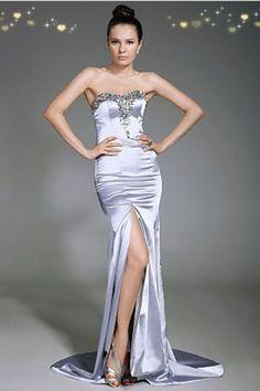 2013 Prom Dresses Sheath/Column Floor Length Court Train Sweetheart Elastic Satin