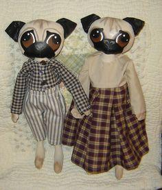 Pug Dog Doll,ePattern, Primitive Folk Art, Artful Zeal. $8.50, via Etsy.