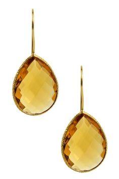 18K Gold Clad Faceted Citrine Drop Earrings by Saachi on @HauteLook
