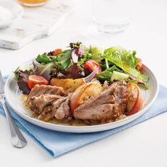 Porc aux pommes et à la bière - Les recettes de Caty Egg Rolls, Pot Roast, Crockpot, Healthy Recipes, Healthy Food, Turkey, Favorite Recipes, Ethnic Recipes, Saveur