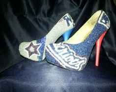 new england patriots high heels   New England Patriot Glitter High Heels