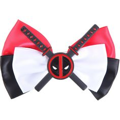 Marvel Deadpool Cosplay Hair Bow Hot Topic (7.27 CAD) ❤ liked on Polyvore featuring accessories, hair accessories and hair bow accessories