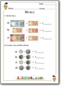 Money Counting Worksheet,Teacher Resource of Worksheets, Class 1 Math