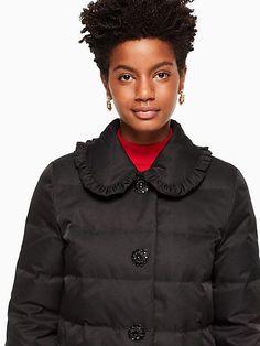 Kate Spade Jewel Button Puffer Coat, Black - Size 12