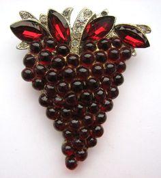 1930s Red Rhinestones Grapes Dress Clip
