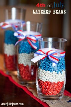 4th of july DIY layered beans, you could probably even do it with MMs   #DIY #4thofjuly