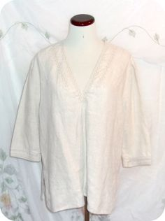 CHICO'S Top Size L Womens Tan 3/4 Sleeve Linen  #Chicos #KnitTop #CareerCasual