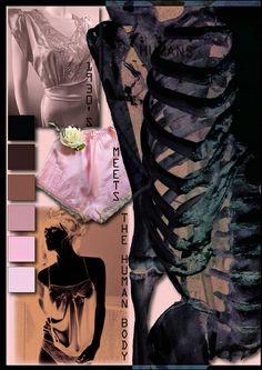 Natural Lingerie moodboard - fashion design portfolio