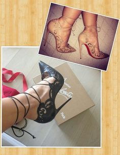 Basketball wives shoe game Louboutin #shoeaddict Draya & Evelyn Lozada. Which do you perfer nude or black ? #shoegame
