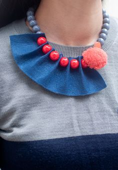 Felt Ball Chain Necklace Bridesmaid Jewelry Cultured by sanwaitsai